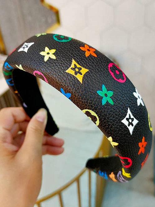 Black Printed Letter Leather Headband