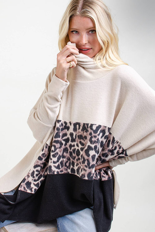 Animal Print Block Poncho