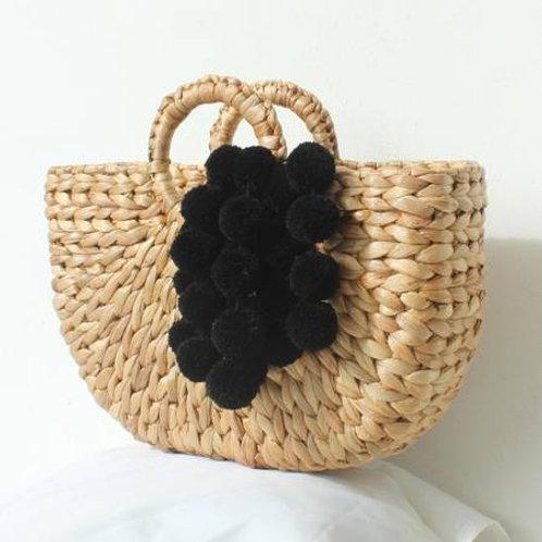 Straw Handbag - Black Pom Pom