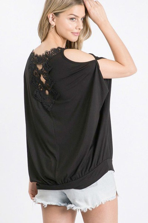 Lace Back Dolman Top