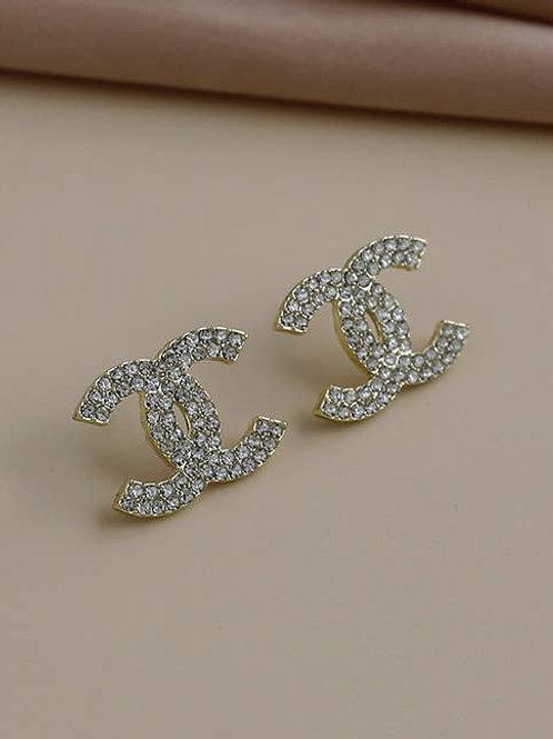 Gold Double CC Earrings