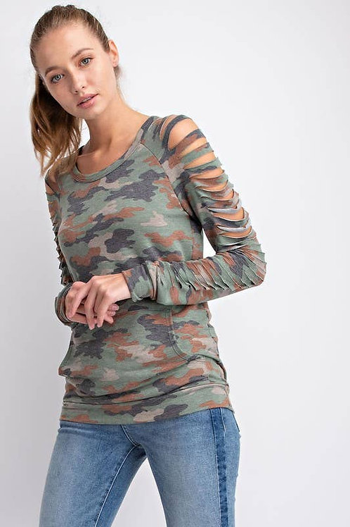 Camo Cut French Terry Top