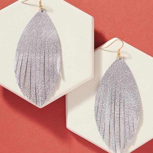 Genuine Leather Fringed Earrings