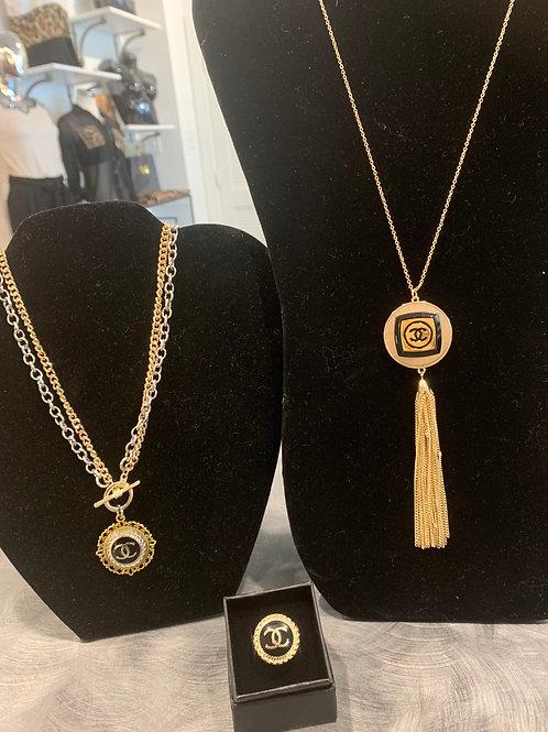 Vintage Chanel Button Necklace