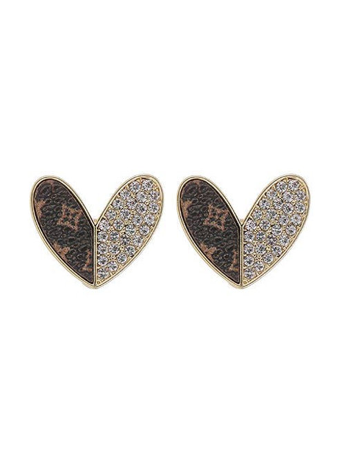 UPCycled Genuine LV Leather Heart Earrings Swarovski Accent