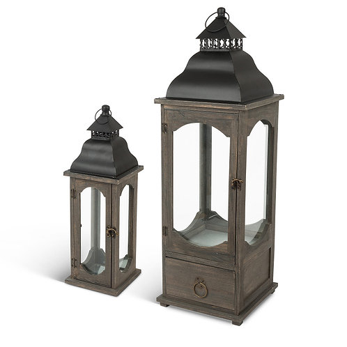 Assorted Sized, Nested Wood and Metal Lanterns with Steepled Roofs (Set of 2)