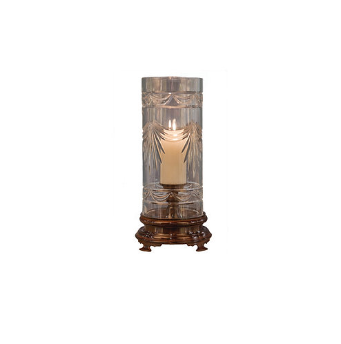 CHERRY BRONZE BRASS BASE CYLINDER HURRICANE WITH SWAG CUT CRYSTAL