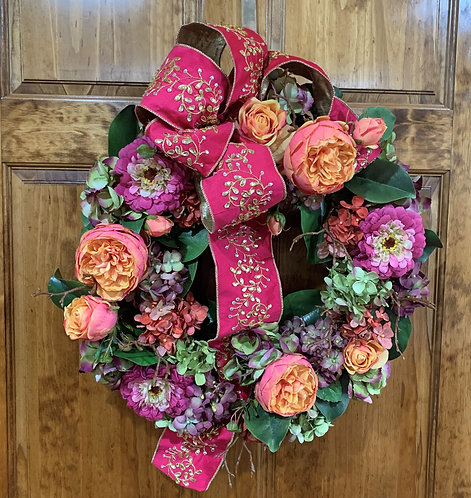 Smaller Multi-floral Wreath with Pink Ribbon