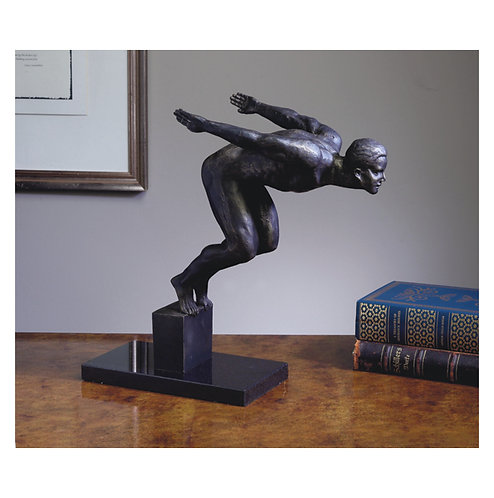 DIVER ON MARBLE BASE BRONZE IRON