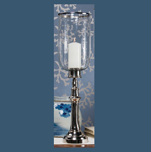 NICKEL COLUMN HURRICANE W/ CLEAR GLASS & RIM