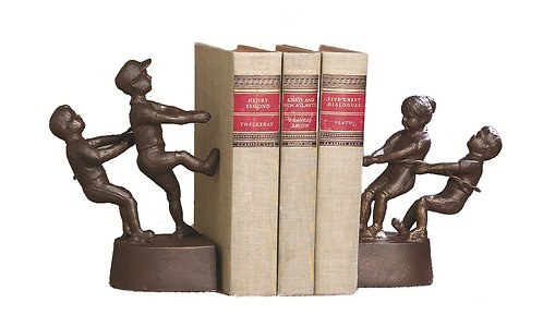 TUG OF WAR BOOKENDS BRONZE IRON