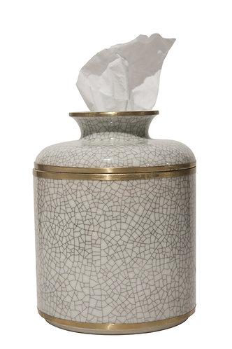 WHITE CRACKLE ROUND TISSUE BOX