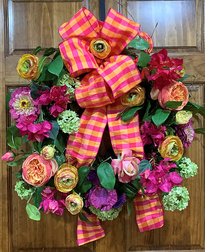 Multi-floral Wreath with Pink/Orange/Yellow Ribbon