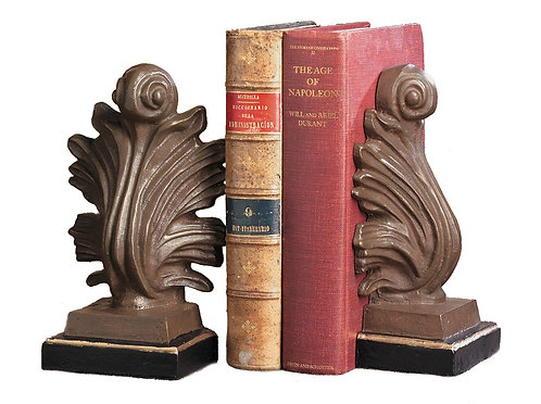 ACANTHUS BOOKENDS IRON GOLD/BRONZE FINISH