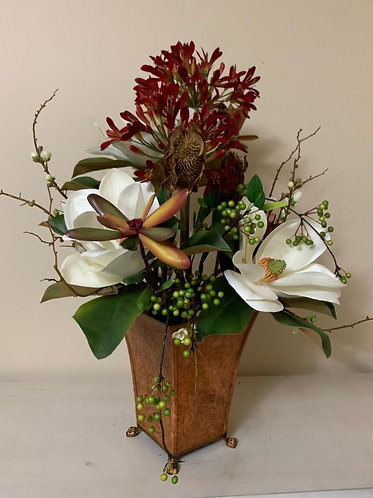 Magnolia with Red Agapanthus Centerpiece