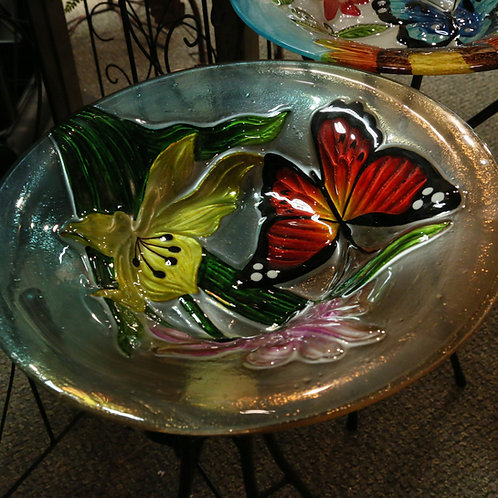 23.5-Inch Tall Fused Glass Butterfly Birdbaths with Solar Lighted Metal Stand.