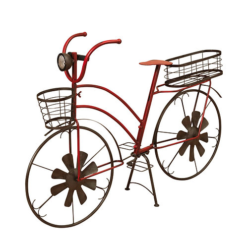 37-Inch Long Solar-Powered Metal Antique-Style Bicycle Plant Stand with Wind Spi