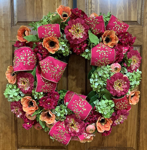 Multi-floral Wreath with Pink Dupion Ribbon