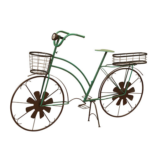 53-Inch Long Solar-Powered Metal Antique-Style Bicycle Plant Stand with Wind Spi