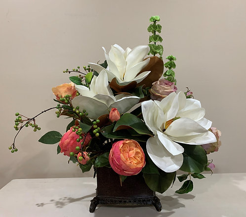 Magnolia and Peony Arrangement