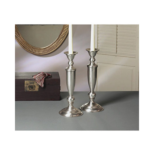 ANTIQUE SILVER CANDLEHOLDER RD. BASE (PAIR)