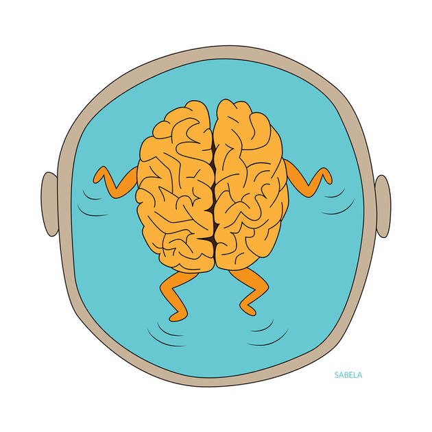 Science outreach illustration of the brain floating in the cerebrospinal fluid.