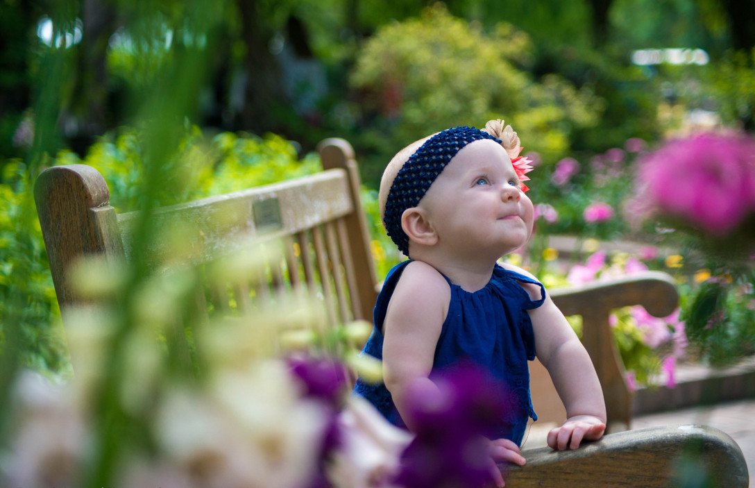 Baby Girl Sits in Botanical Garden