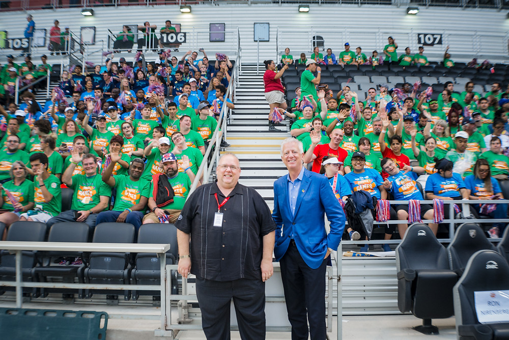 Stadium photo with key stakeholders at 2019 Special Olympics Summer Games