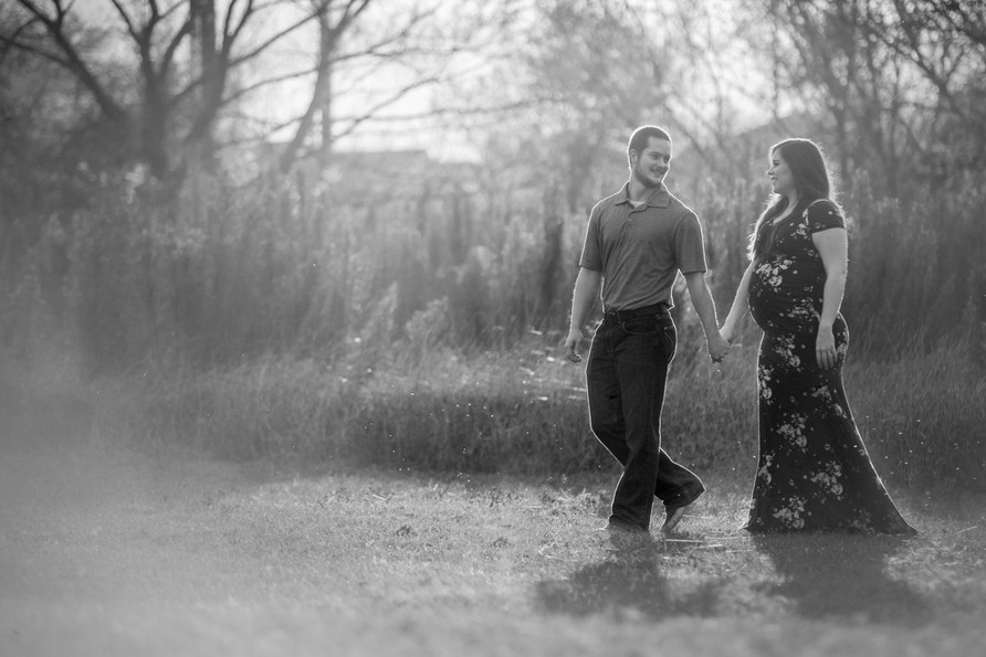 Black and white still of golden hour candid moment