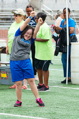 Athlete celebrates victory on the field