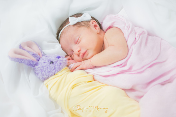 Swaddled Infant and Her Bunny