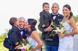 Bride and Groom with their young son