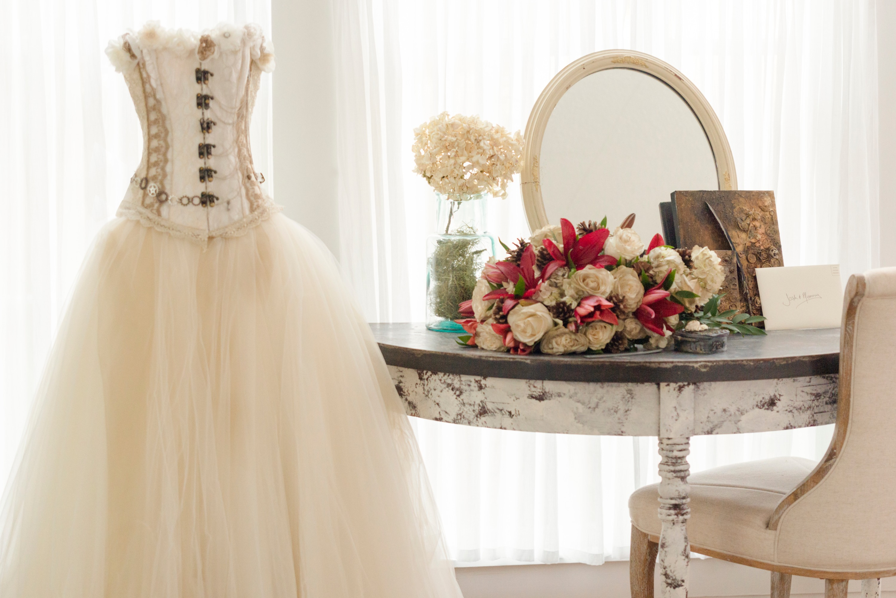 Wedding Dress & Floral Arrangement
