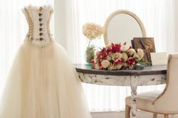 Wedding Dress & Floral Arrangement