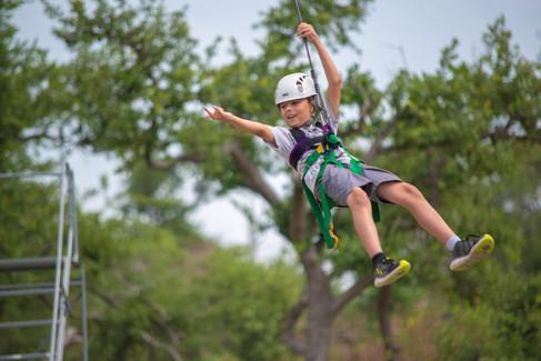 Zip lining Adventures at Camp