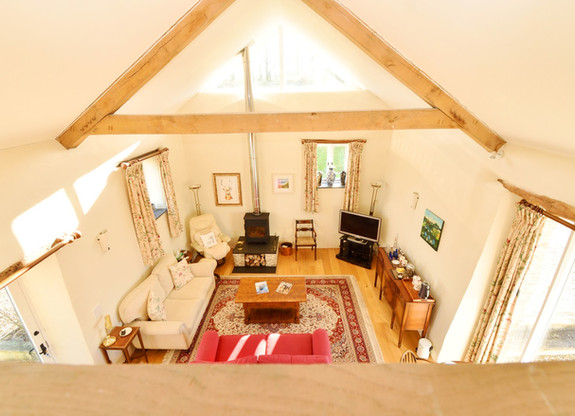 West Barn aerial view of living area