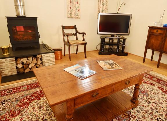 Log burner and TV
