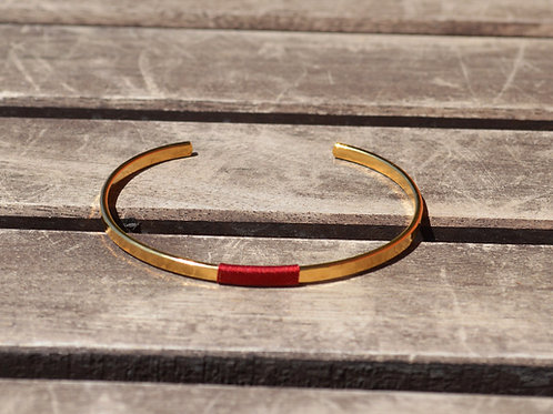 Jonc fin martelé/fil rouge | Incanta Corsica