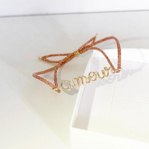 Bracelet AMOUR pink brillant | Mes Précieux