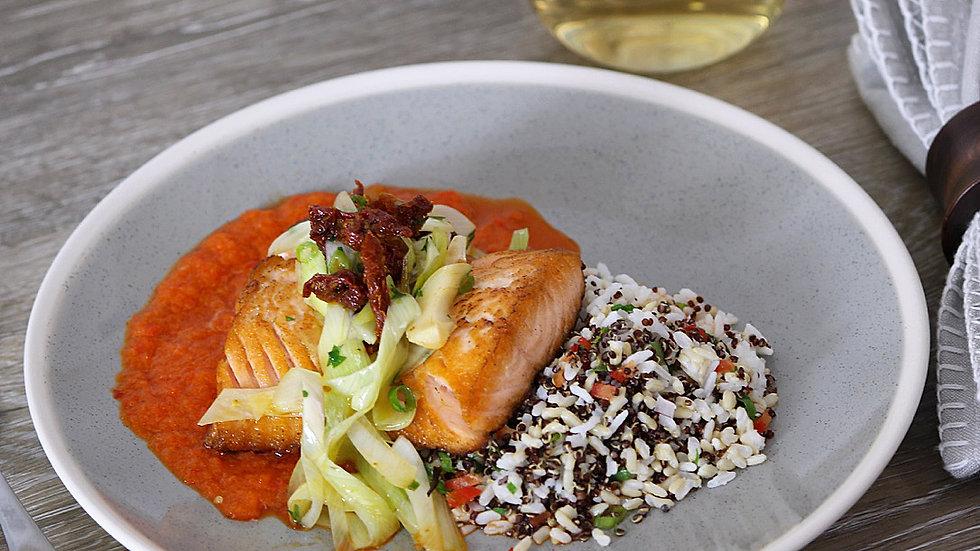 Salmon Fillet with Roasted Tomato, Leek & 3-Grain Pilaf