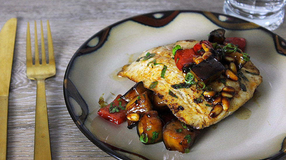 Baked Cod with Eggplant Caponata & Tomato Romesco