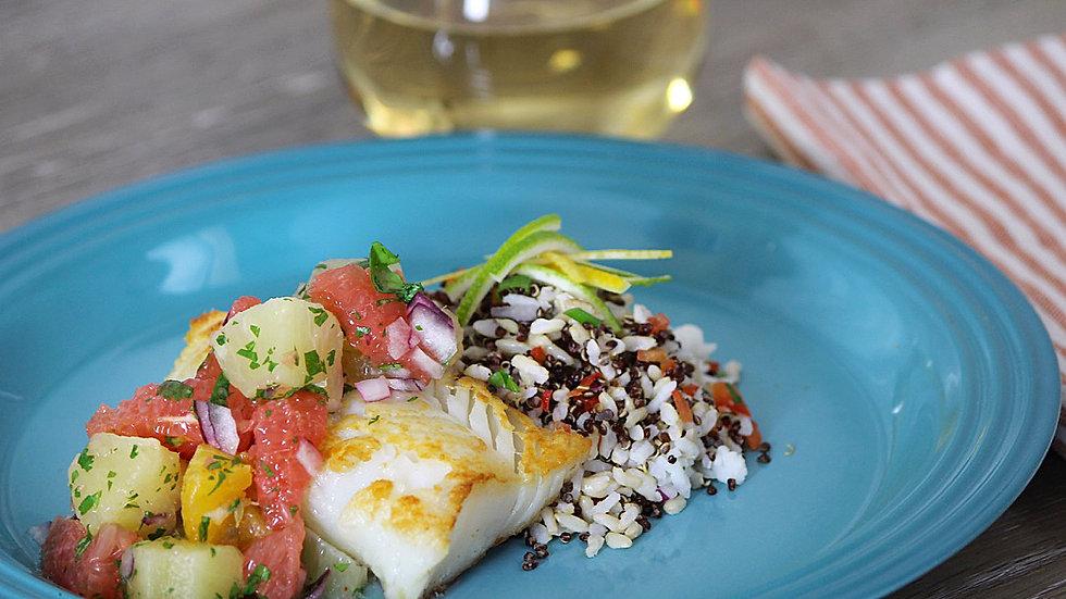 Baked Cod with Lemon Scented Pilaf & Citrus Fruit Salsa