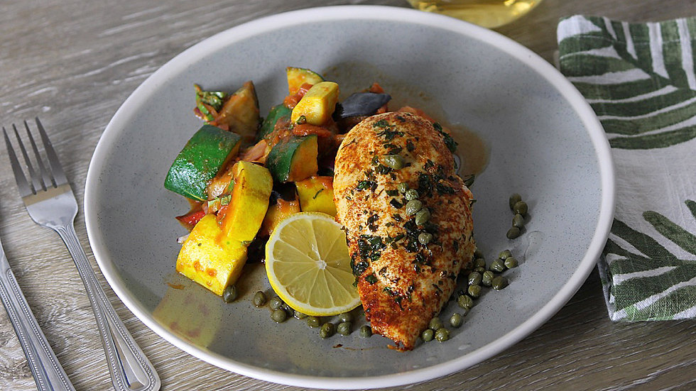 Roasted Chicken Breast with Lemon Piccata & Ratatouille