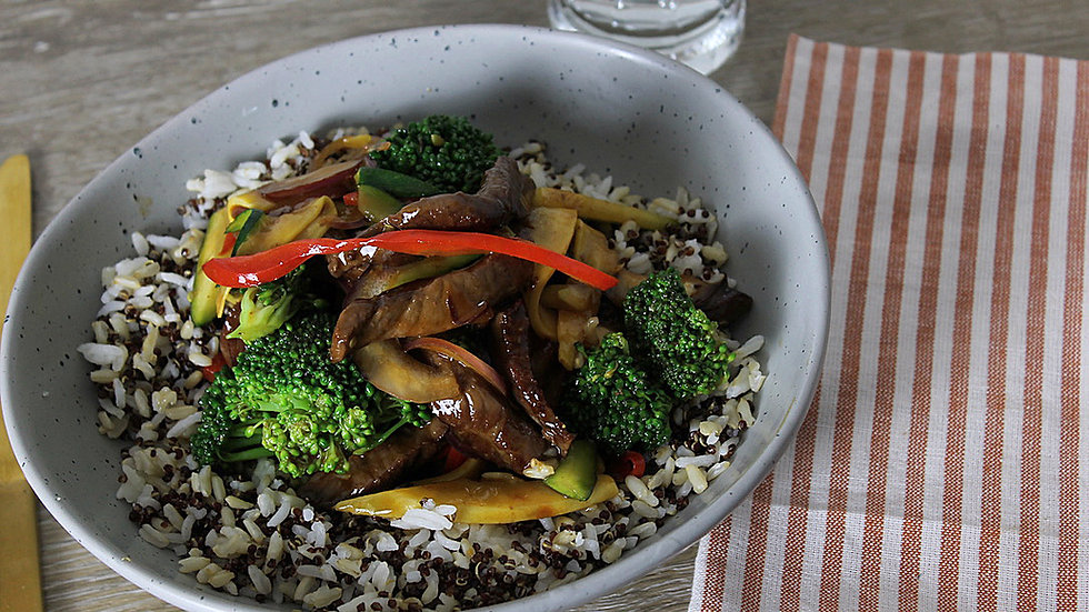 Steak & Vegetable Stir-fry Over 3-Grain Pilaf