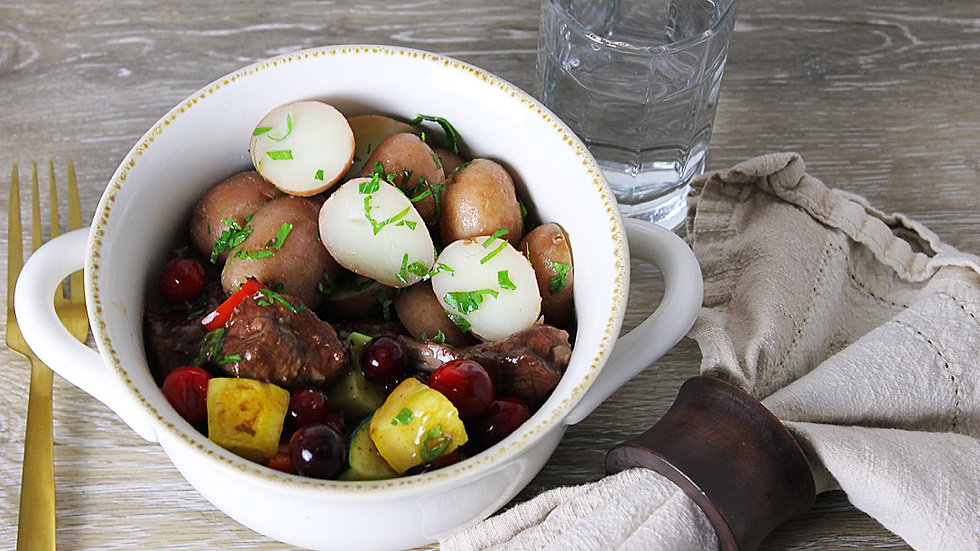 Braised Cranberry Beef & Red Bliss Potatoes