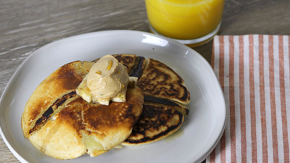 Whole Wheat Banana Pancakes with Maple Butter