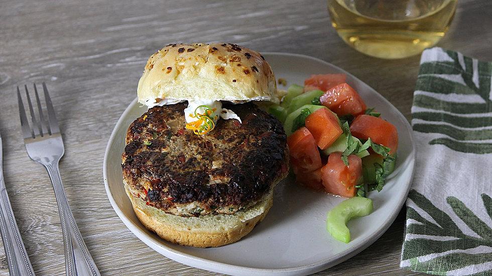 Mediterranean Turkey Burger with Citrus Aioli & Cucumber Bruschetta