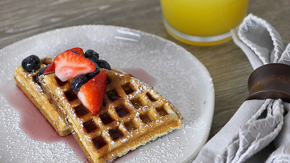 Whole Wheat Waffle with Mixed Berry Compote