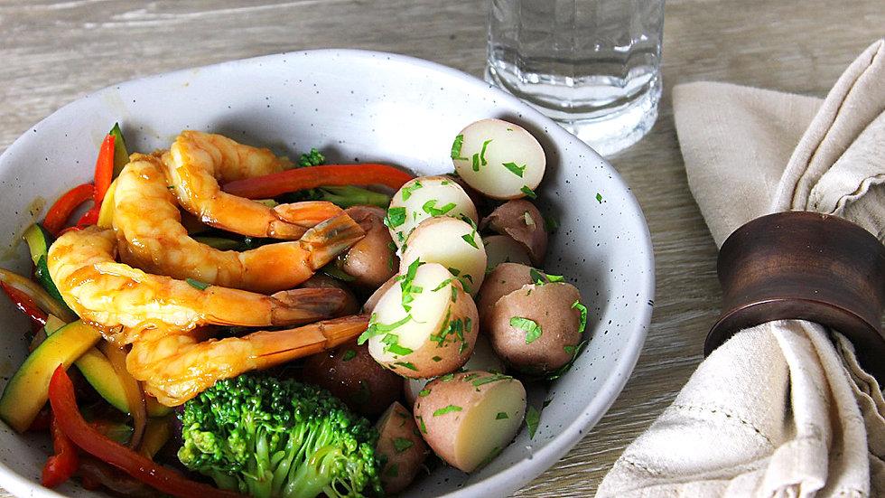 Shrimp Stir Fry with Parsley Potatoes