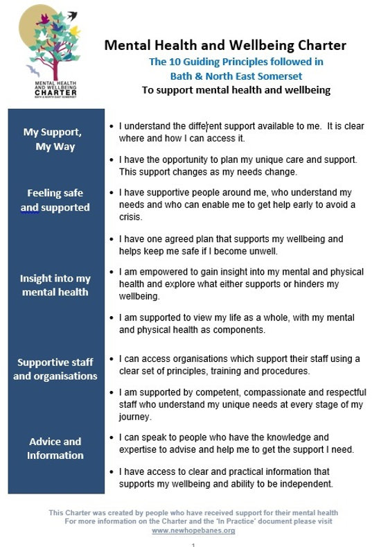 Mental Health Charter 10 Guiding Princip
